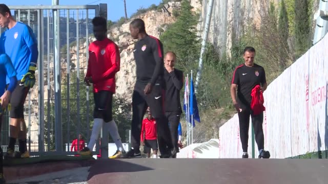 players of monaco attend a training session ahead of uefa champions league group g soccer match between monaco and besiktas in france on october 16... - besiktas stock videos and b-roll footage