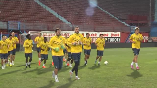 Players of Russia's FC Rostov exercise during a training session of FC Rostov led by head coach Miodrag Bozovic ahead of the UEFA Europa League...