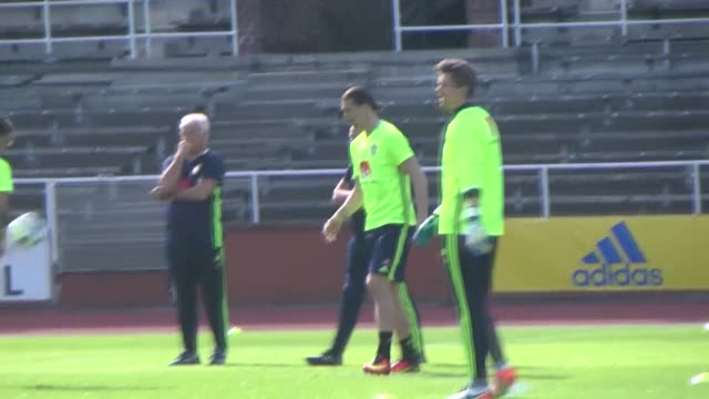 Players of Sweden national soccer team including Zlatan Ibrahimovic and Erkan Zengin seen during training session before their F group soccer matches...