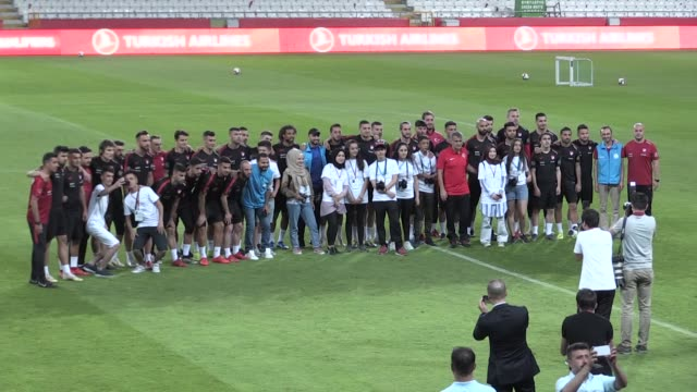 Players of Turkish soccer team attend a training session ahead of the European Qualifiers Group H match between Turkey and France for UEFA EURO 2020...