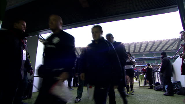 Players officials and staff head to the locker room at the end of the first half Barbarians v Springboks 4th December 2010 Available in HD