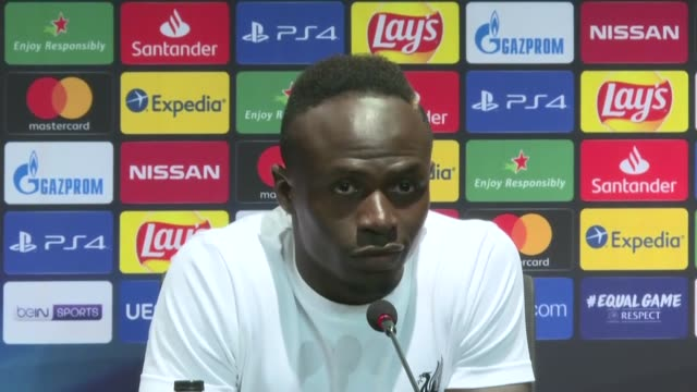 Players Sadio Mane Divock Origi and Virgil van Dijk of Liverpool attend a press conference following Liverpool captured the 2019 UEFA Super Cup late...