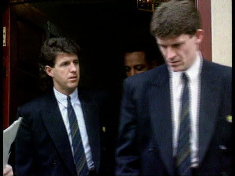 players strike england manchester ms gordon taylor and pfa officials on steps of office zoom in london fa tms meeting of premier league officials and... - 1992 stock videos & royalty-free footage