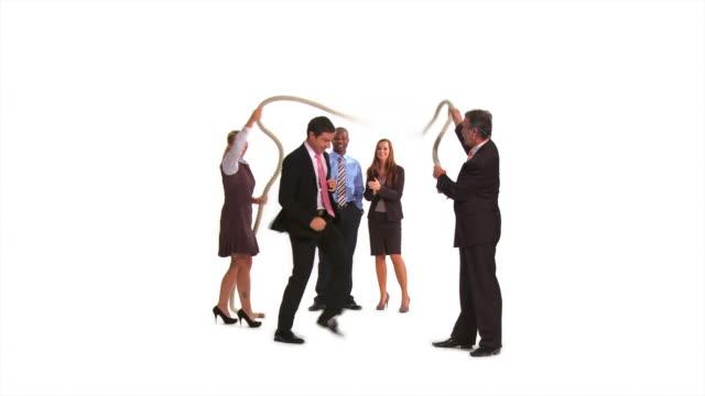 hd: playful business people - hopprep rep bildbanksvideor och videomaterial från bakom kulisserna