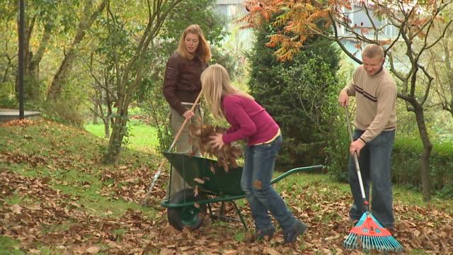 vídeos de stock e filmes b-roll de carrinho de hd: brincalhão crianças - ancinho equipamento de jardinagem