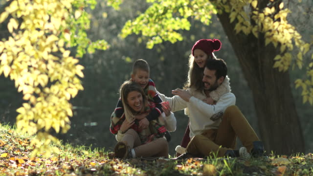spielerische familie spaß zusammen bei einem herbsttag im park. - public park stock-videos und b-roll-filmmaterial