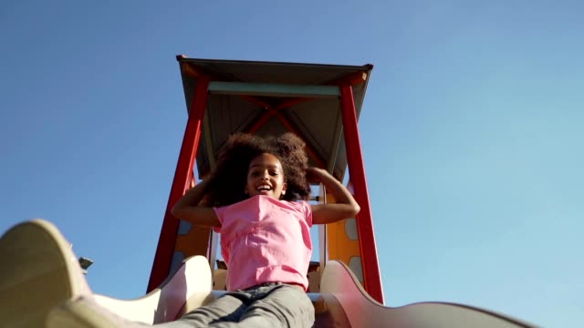 playful girl at a playground - playground stock videos & royalty-free footage