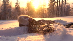 SLOW MOTION Playful girl making snow angels in fresh snow at golden light sunset