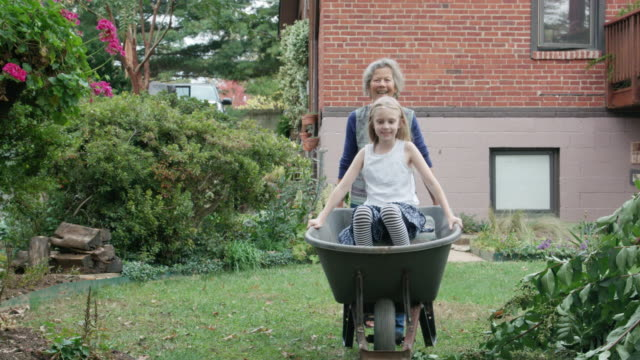 playful grandmother pushes granddaughter in wheelbarrow - wheelbarrow stock videos and b-roll footage