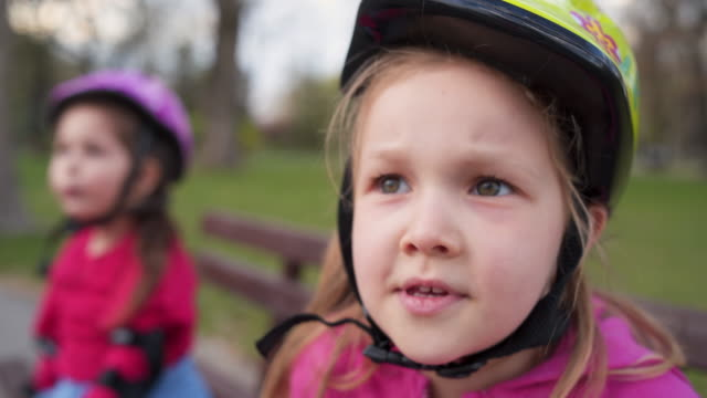 playful smiling girl - cycling helmet stock videos & royalty-free footage