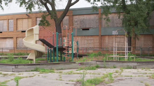 ws playground at abandoned school - abandoned stock videos & royalty-free footage
