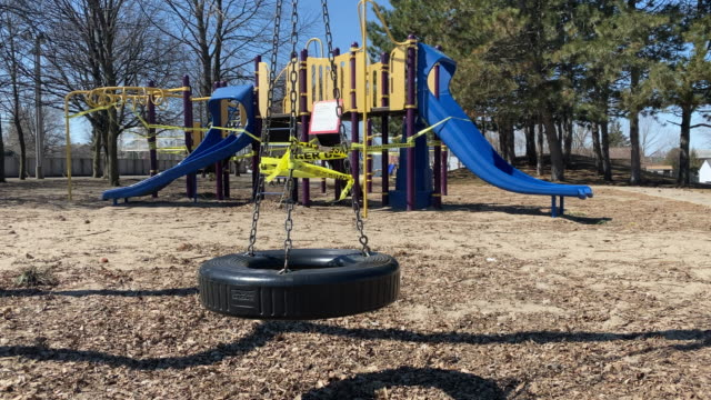 playground equipment closed due to covid 19 - playground stock videos & royalty-free footage