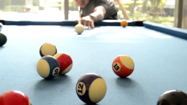 playing billiard (snooker)