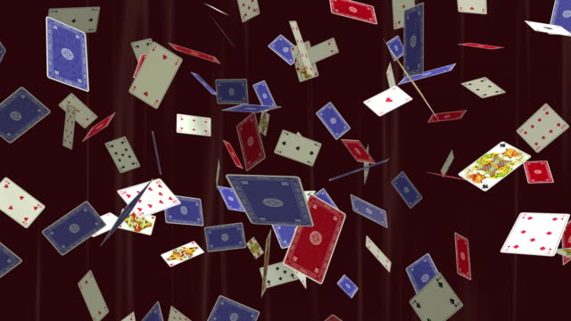 ms playing cards floating against red curtain / athens, greece - digital animation点の映像素材/bロール