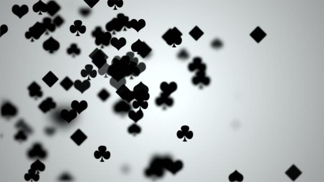 vídeos de stock e filmes b-roll de playing cards symbol - póquer