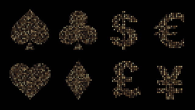 playing cards symbols of gold coins - glitter effect (loop 4k + chroma key) - casino icon stock videos & royalty-free footage