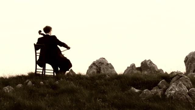 vidéos et rushes de grue haute définition: violoncelle jouant dans la nature - violoncelle