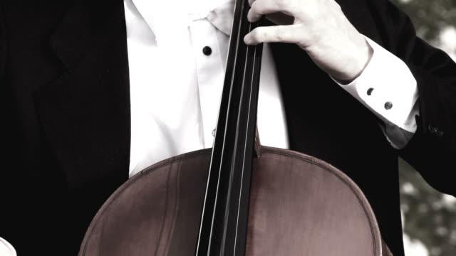 vidéos et rushes de grue haute définition: violoncelle jouant en plein air - violoncelle