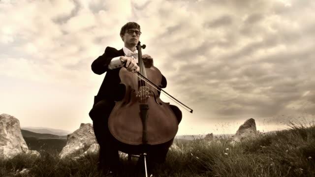 HD CRANE: Playing Cello Outdoors