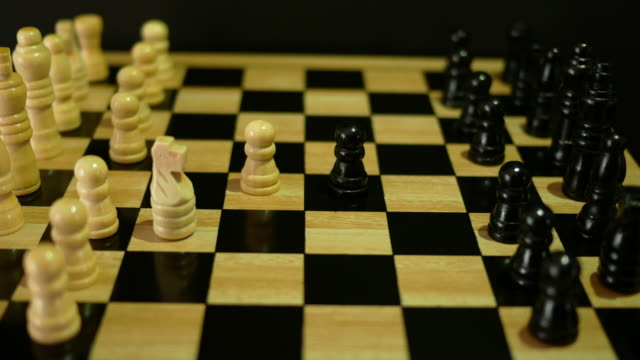 Playing chess with yellow tone