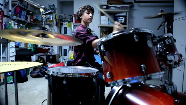playing drums - teenage boys stock videos & royalty-free footage