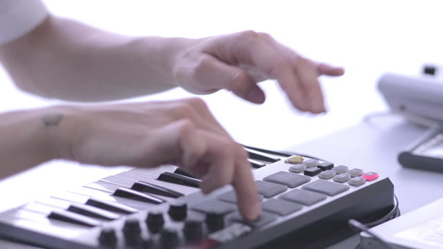 c/u playing electronic music - synthesizer stock videos & royalty-free footage