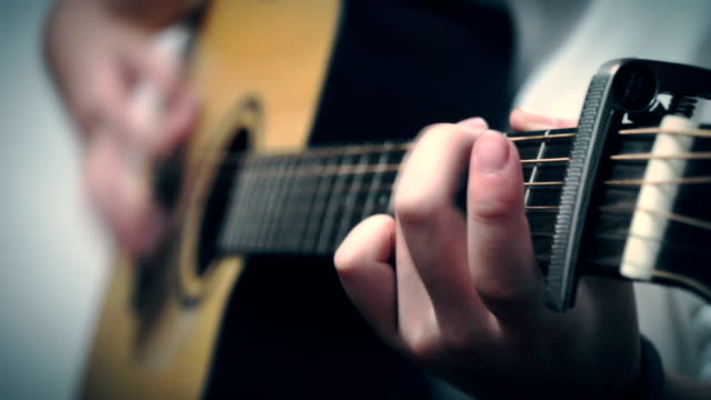 playing guitar - acoustic guitar stock videos and b-roll footage