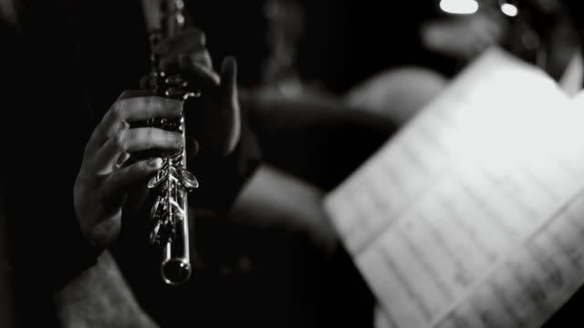 playing live jazz concert: flute - viraggio monocromo video stock e b–roll