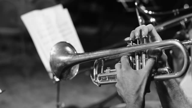 playing live jazz concert: trumpet - orchestra stock videos & royalty-free footage