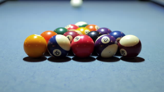 Playing Pool game , Start Shot of pool game on Pool Table and Balls Making , 4k(UHD)