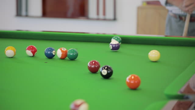 playing pool - mid shot - cue ball stock videos & royalty-free footage