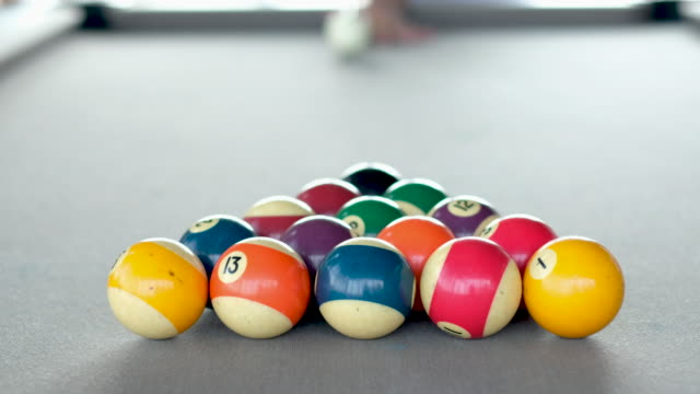 playing snooker ball on pool table.breaking spheres - pool table stock videos & royalty-free footage