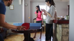 Playing table tennis at home