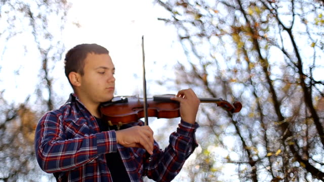 playing the violin outdoors - soloist stock videos & royalty-free footage