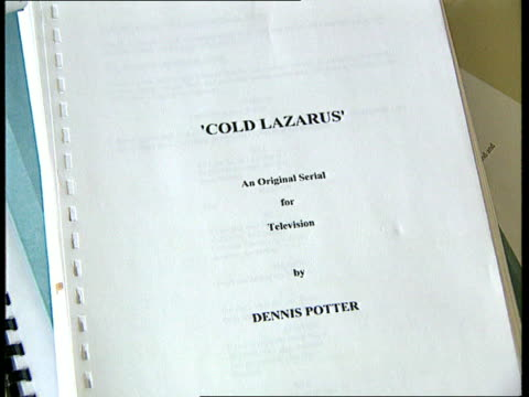 Playwright Dennis Potter dies TCS Script of Cold Lazarus by Dennis Potter as flicked through CMS Peter Ansorge intvwd SOT Potter said I've finished...