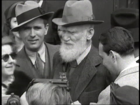 playwright george bernard shaw talks to reporters. - scriptwriter stock videos & royalty-free footage