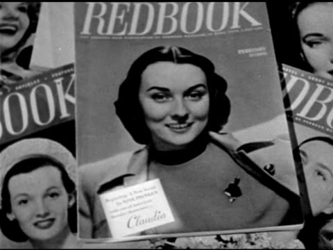 vídeos y material grabado en eventos de stock de playwright, novelist rose franken ad on cover of 'redbook' magazine. claudia' serial ad on cover. books: grouping of popular 'claudia' books by rose... - guionista