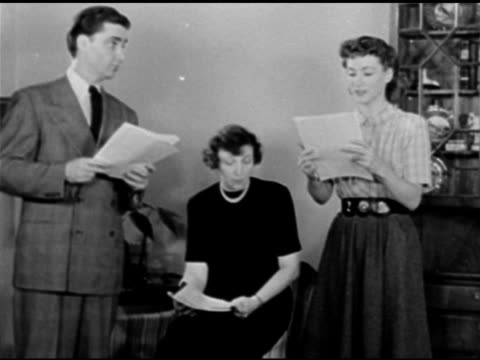 playwright, novelist rose franken working script w/ kathyrn bard & paul crabtree , sot claudia gets driver's license in mail, husband david wants to... - scriptwriter stock videos & royalty-free footage