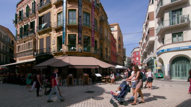 plaza carbon street scene, malaga, andalusia, spain - facade stock videos & royalty-free footage