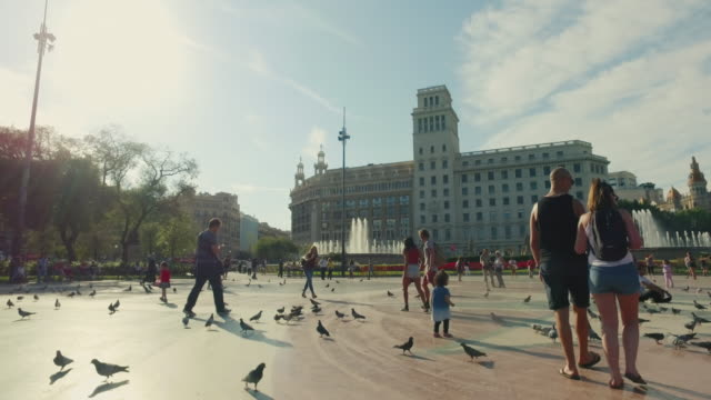 plaza de catalunya in barcelona, spain - barcelona spain stock videos & royalty-free footage