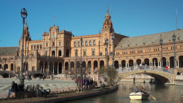 plaza de espana, seville, andalucia, spain - andalucia stock videos & royalty-free footage