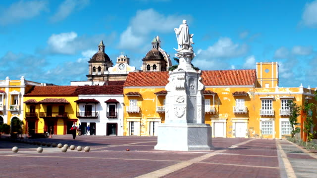plaza de la aduana - cartagena, colombia - colombia stock videos & royalty-free footage
