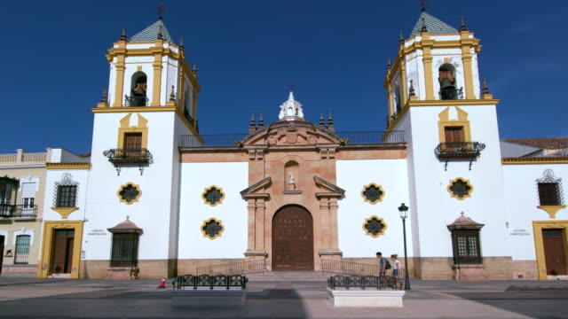 plaza del socorro church, ronda, andalusia, spain - courtyard stock videos & royalty-free footage
