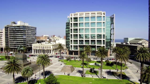 Plaza Independencia, Executive Tower, Montevideo downtown, outdoors, daylight.