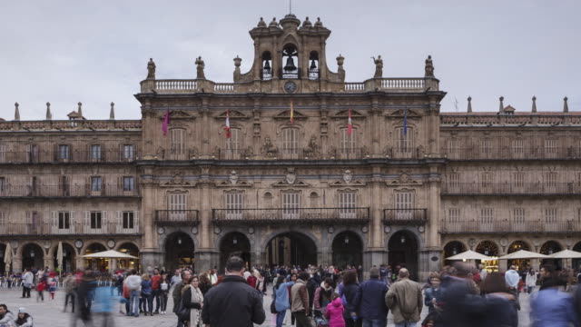 plaza mayor in salamanca, spain. - courtyard stock videos & royalty-free footage