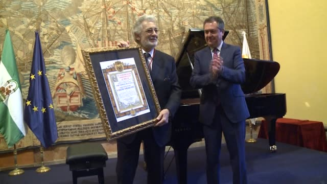 plácido domingo receives the gold medal of sevilla - gold medal stock videos & royalty-free footage