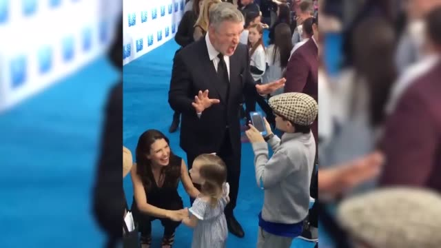 please credit @joprestontv/twitter alec baldwin at the boss baby premier teaches a young boy how to perfect a donald trump impression - alec baldwin stock videos & royalty-free footage