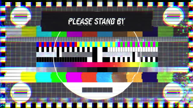 Please stand by text on TV screen, maintenance, no signal, silence, emergency