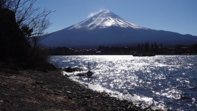 Pleasure Boat Passing by Mt. Fuji at Lake Kawaguchi