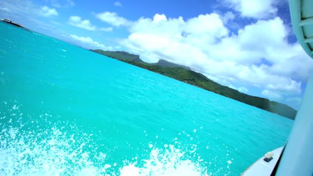 pleasure craft in luxury island resort bora bora - polynesischer abstammung stock-videos und b-roll-filmmaterial